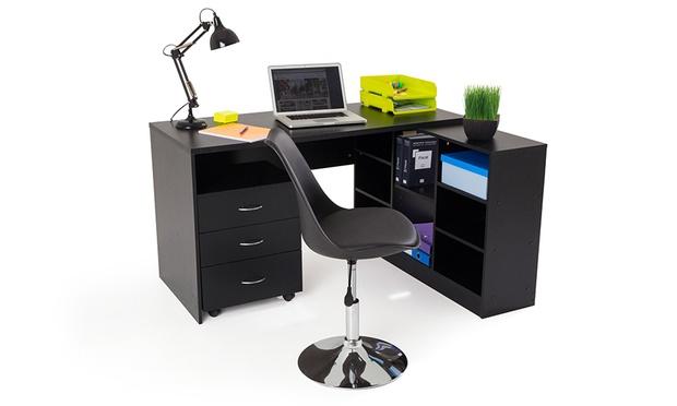 Bureau noir avec tiroir caisson de bureau beau caisson