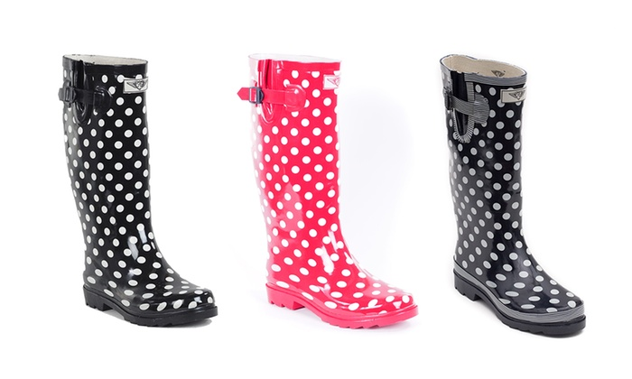 Women's Polka-Dot Rubber Rain Boots