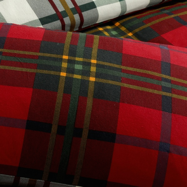 Copripiumino Dream Fun.Brushed Cotton Tartan Check Duvet Set In Choice Of Colour And Size