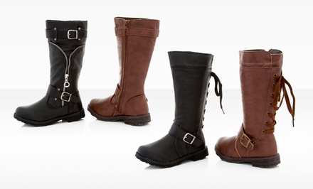 Coco Jumbo Girls' Riding Boots with Zipper or Lace-Up Detail in Brown or Black