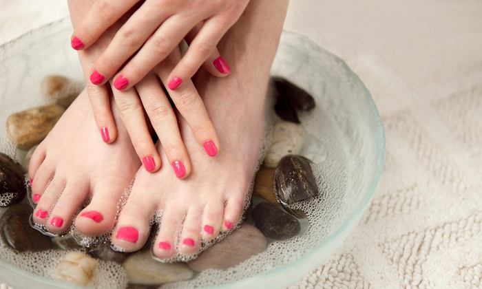 Chastity at The Hair District - The Hair Distrct: One or Two Gel Manicures with Regular Pedicures with Chastity at The Hair District (Up to 54% Off)