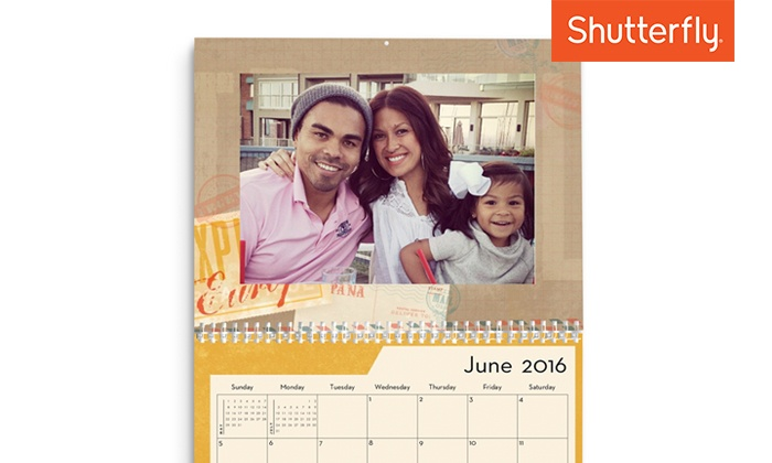 Shutterfly: $9.99 for One Custom 8x11 12-Month Wall Calendar from Shutterfly (60% Off)