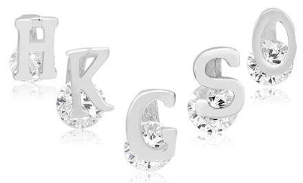 Kids' Sterling Silver Cubic Zirconia Initial Earrings