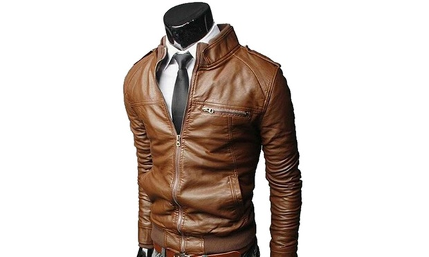 Veste semi cuir homme marron