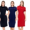 Women's Short-Sleeve Solid Party Dress