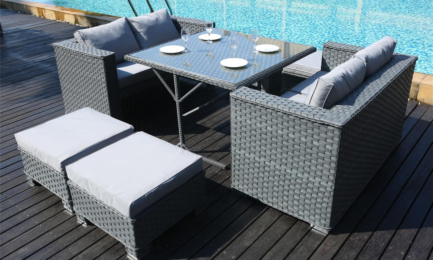 rattan-effect cube dining set