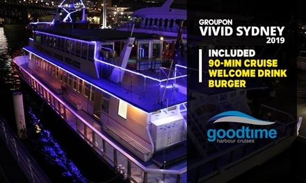 Vivid Cruise with Burger + Drink: Child (From $19) or Adult (From $29) with Good Time Harbour Cruises (From $50 Value)