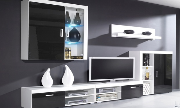 Parete soggiorno con luci led groupon goods Groupon uk living room furniture