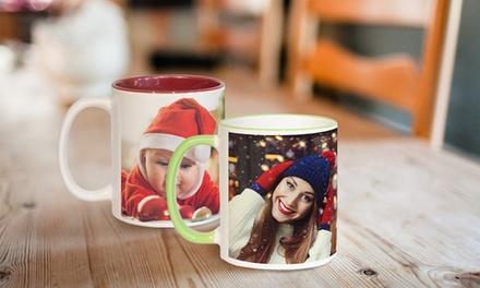 1, 2 o 3 tazas de cerámica en 2 colores de 325 ml con foto personalizable en Printerpix (hasta 78% de descuento)