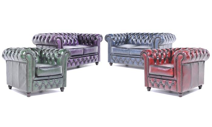 Superb Chesterfield Bank Van Echt Leer Groupon Goods Lamtechconsult Wood Chair Design Ideas Lamtechconsultcom