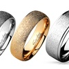 Domed 316L Stainless Steel Ring with Sand Sparkle Finish
