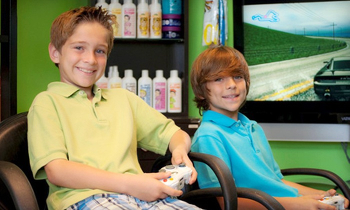 Sharkey's Cuts for Kids - Multiple Locations: Boy's or Girl's Haircut Package at Sharkey's Cuts for Kids. Two Locations Available.