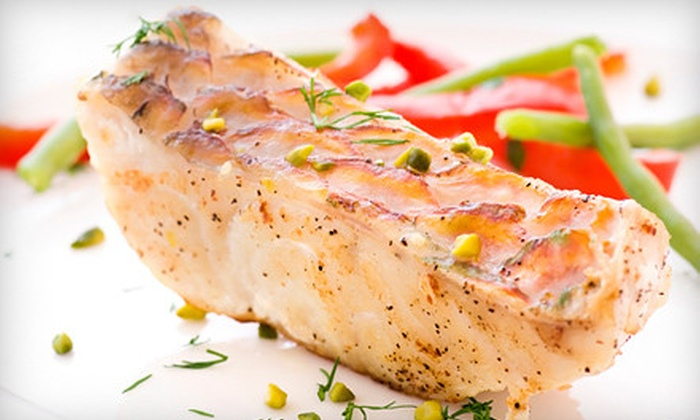 Fins Hawaiian Fusion & Sushi Bar - Crofton: $40 for Dinner with Sushi or Appetizer and Wine for Two at Fins Hawaiian Fusion & Sushi Bar in Crofton (Up to $96 Value)