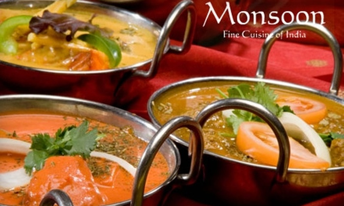 Monsoon Restaurant - Gaslamp: $15 for $30 Worth of Authentic Indian Cuisine and Drinks at Monsoon Fine Cuisine of India