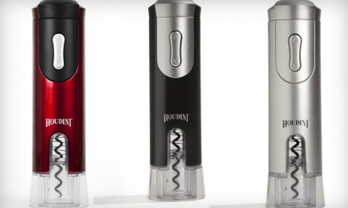 Electric Houdini Corkscrew: $20 for a Metrokane Electric Houdini Corkscrew with Charger and Foil Cutter in Black, Red, or Silver ($39.95 Value)