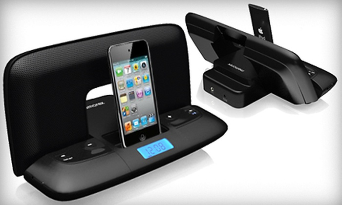 Memorex Travel iPod Dock: $20 for Memorex MI2290 Travel iPod Dock in Black or White from CloseoutAmerica.com ($59.99 Value). Valid in the Contiguous US Only.