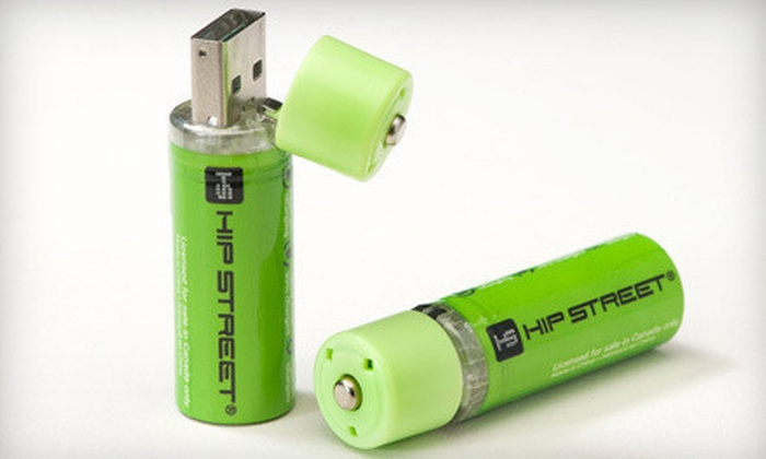 USB-Rechargeable AA Batteries : $12 for a Two-Pack of Hip Street Online USB-Rechargeable AA Batteries ($24.99 Value)