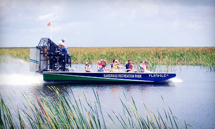 Sawgrass Recreation Park - Fort Lauderdale: Airboat Tour and Exhibit Pass for Two or a Gator Tour for Two from Sawgrass Recreation Park in Weston (Up to 51% Off)