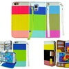 Tricolor Wallet Case for iPhone or Samsung Galaxy Phones