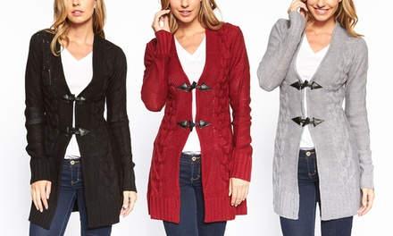 Women's Long Cable-Knit Toggle Cardigan