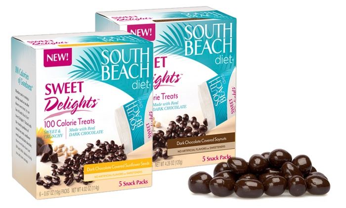 South Beach Diet 100-Calorie Snacks: $16.99 for South Beach Diet 100-Calorie Sweet Delights ($55.92 List Price). Two Flavors Available. Free Shipping.