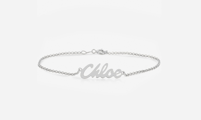 Monogram Online: Personalized Silver or Gold Over Silver Name Bracelet from Monogram Online (Up to 75% Off)