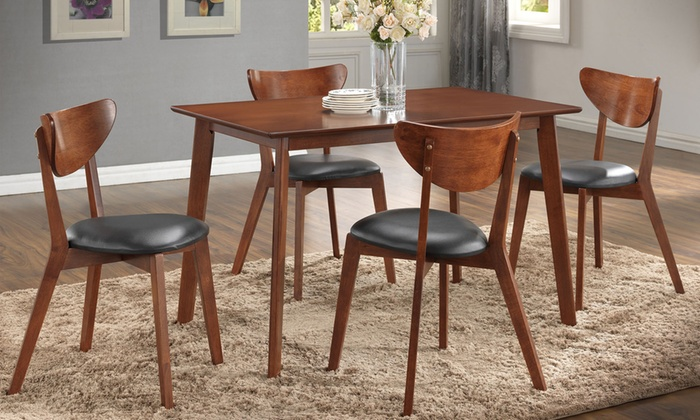 Genial Morocco Dark Walnut Scandinavian Inspired Dining Set (5 Piece)