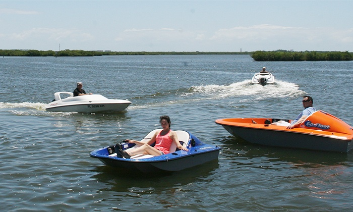 Hidden Treasure Tiki Bar & Grill - Port Orange: $30 for an Electric Fusion Go-Float Boat for Two People at Hidden Treasure Tiki Bar & Grill ($55 Value)