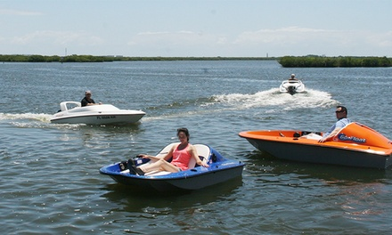 $30 for an Electric Fusion Go-Float Boat for Two People at Hidden Treasure Tiki Bar & Grill ($55 Value)