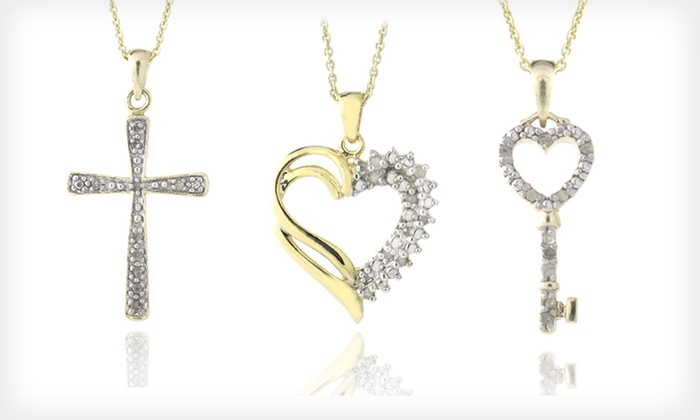 Diamond Pendant Necklaces: Diamond Heart- and Cross-Pendant Necklaces (Up to 85% Off). 19 Options Available. Free Shipping.