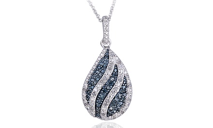 0.50 CTTW White and Blue Diamond Striped Teardrop Necklace