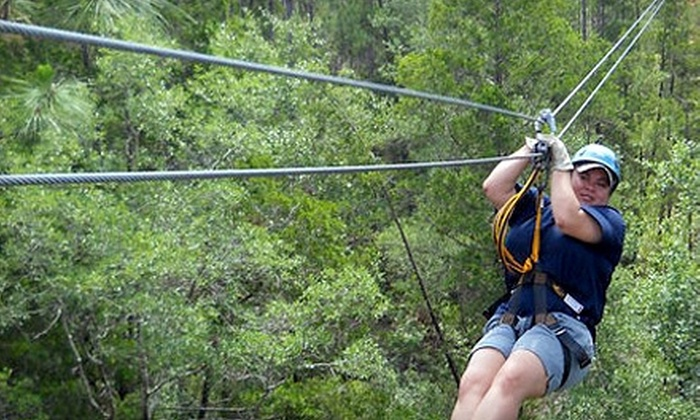 Adventures Unlimited - Munson-McLellen: $64 for Zip-Line Tour Over Wolfe Creek and Big Coldwater Creek from Adventures Unlimited ($129 Value)