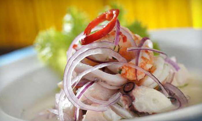 Pisco Sour Restaurant & Lounge - East Colfax: Peruvian Meal for Two with Entrees and Drinks or $12 for $25 Worth of Peruvian Food at Pisco Sour Restaurant and Lounge