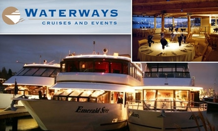 Waterways Cruises - Seattle: $50 for a Four-Course Dinner Cruise of Seattle's Lakes With Waterways Cruises, Plus One Drink Ticket ($84 Value).  Buy here for Thursday, 2/4, see below for additional dates.