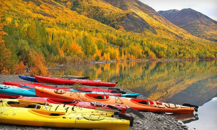 Lifetime Adventures - Eklutna Lake: Double-Kayak Rental for Two or Four from Lifetime Adventures in Chugiak (Up to 59% Off). Six Options Available.
