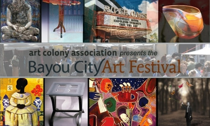 Art Colony Association - Multiple Locations: $35 for One Three-Day Pass to Bayou City Art Festival on March 26–28, Shuttle Pass, Two Non-Alcoholic Drinks, and a Poster (Up to $74 Value)
