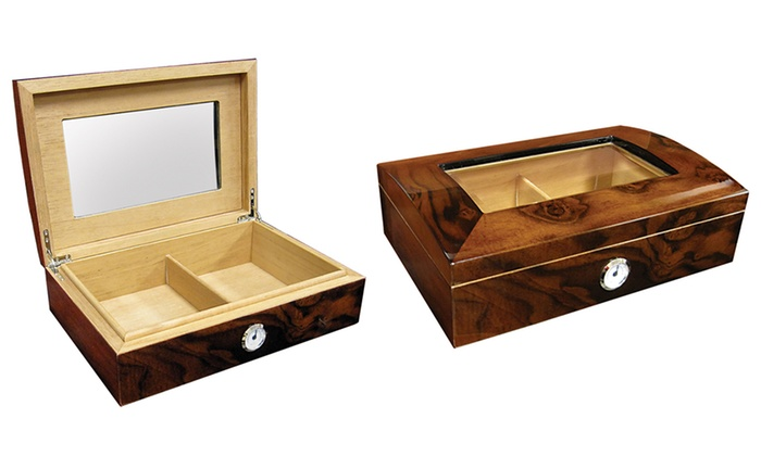 Beveled Glass Humidor with Lacquer Walnut Burl Finish: Beveled Glass Humidor with Lacquer Walnut Burl Finish