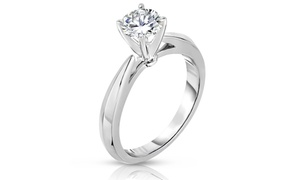 1.00 Cttw Certified Diamond Solitaire Ring In 14k White Gold By Diamond Affection