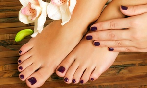 Karma Salon Spa: No-Chip Manicure and Aveda Pedicure, or Classic Aveda Mani-Pedi at Karma Salon Spa (Up to 41% Off)