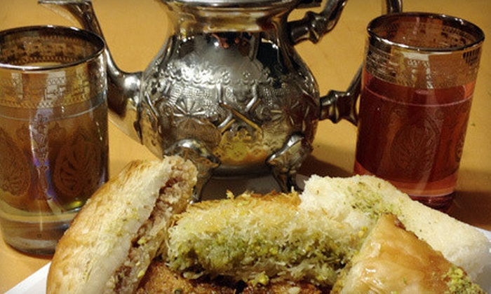 Oasis Middle Eastern Restaurant & Halal Market - Upper Christiana: Tea and Sweets for Two or Four, or $10 for $20 Worth of Middle Eastern Sweets at Oasis Restaurant in Newark (Up to 52% Off)