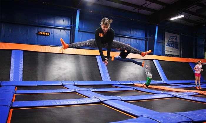 Sky Zone - Mount Sinai - Mount Sinai: Two One-Hour Jump Passes or 10 drop-in SkyFit classes at Sky Zone (Up to 47% Off). Two Options Available.
