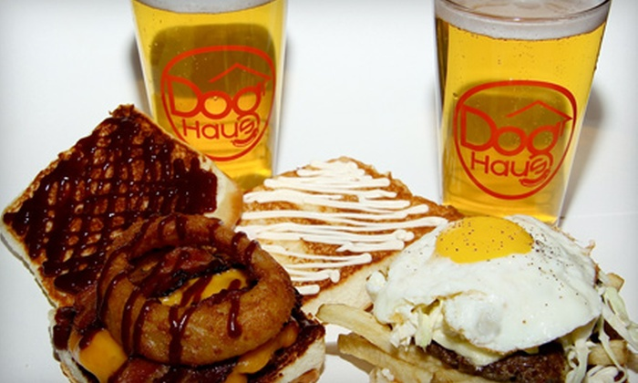 Dog Haus Biergarten - Downtown: Burger Meal with Beer for Two or $5 for $10 Worth of Hot Dogs, Burgers, and Drinks at Dog Haus Biergarten in Pasadena