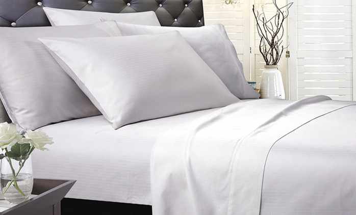 1200TC Cambridge Stripe or Plain Dyed Cotton Sheet or Stripe Duvet Cover Set - Queen ($69) or Super King ($79)