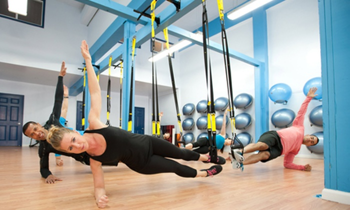 bodyFi - Multiple Locations: 5 or 10 Studio Boot-Camp or Plyo-Pilates Classes, or 8 TRX Classes at bodyFi (Up to 64% Off)
