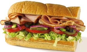Subway: $9 for Two Six-Inch Sub Sandwiches, Two Chips, and Two 21 Oz. Drinks at Subway ($14 Value)