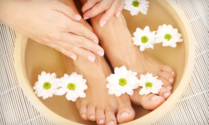 Angel Tips - Oceanside: Deluxe Pedicure Package or Permanent French Nail Set at Angel Tips (Up to 55% Off)