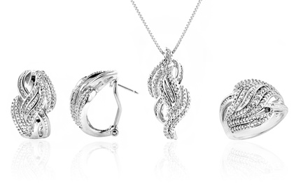 0.25 CTTW Diamond Jewelry Set with Necklace, Ring, and Earrings
