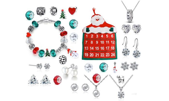 Groupon Calendario.Calendario Dell Avvento Con 24 Gioielli Con Cristalli E Bracciale A Tema Natalizio