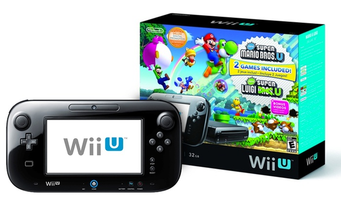 Nintendo Wii U 32GB Black Deluxe Set with 2 Games: Nintendo Wii U 32GB Black Deluxe Set with New Super Mario Bros. U and New Super Luigi U Game Discs