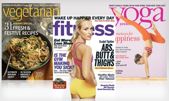 "Healthy-Living Magazine Subscriptions: ""Vegetarian Times,"" ""Yoga Journal,"" or ""Fitness"" Magazine Subscription (Up to 75% Off). Free Shipping."